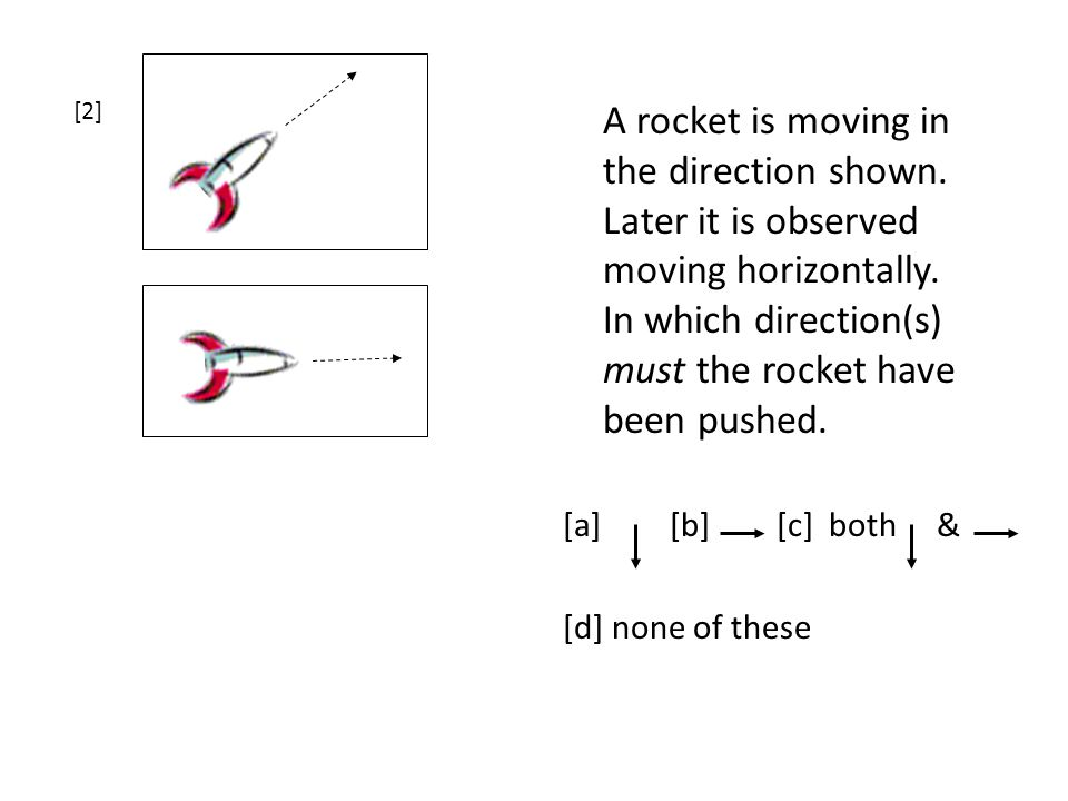 [2] A rocket is moving in the direction shown. Later it is observed moving horizontally. In which direction(s) must the rocket have been pushed.
